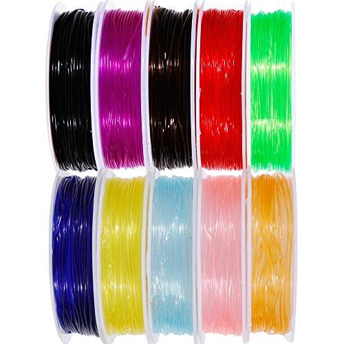 Goldge 10 Sprulen Elastisch Faden Schmuckfaden Gummifaden Transparent Faden für Perlenschmuck Armbänder Basteln