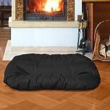 BedDog 2in1 Hundebett REX / Wende-Hunde-Kissen oval / großes Hundekörbchen / waschbares Hundebett / Hundesofa für drinnen & draußen / XXL / BLACK / schwarz