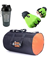 VELLORA Polyester Long Lasting Material, Duffel Bag, Orange Gym Bag With Sport Sipper Water Bottle And Green Color...