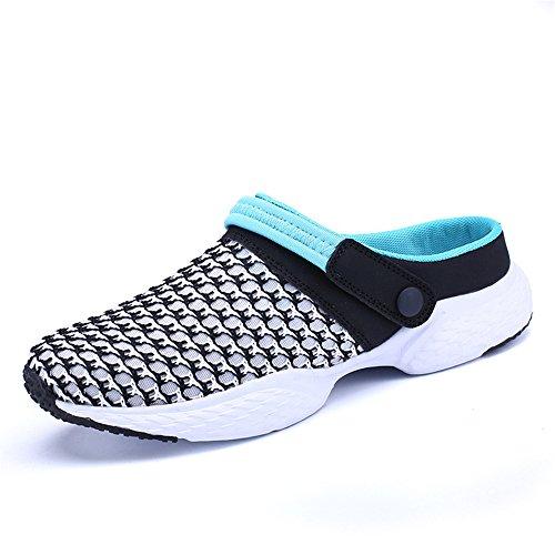 Shaoeo Estate Style Sandali Net Pantofole Di Stoffa Fori Di Svago Scarpe Da Spiaggia Lazy Uomini Black and blue