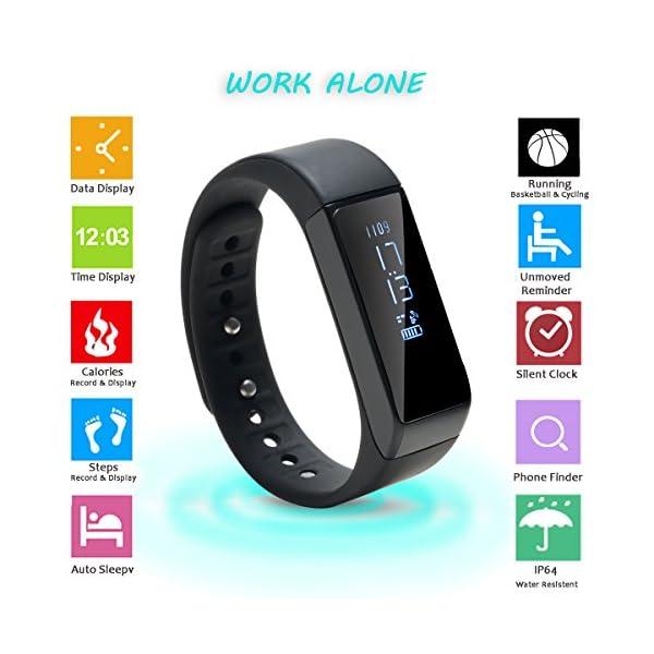 AGPTEK V07 Fitness Tracker Presión Arterial Ritmo Cardíaco Actividad Monitor Bluetooth 4.0 Pantalla OLED Pulsera… 4