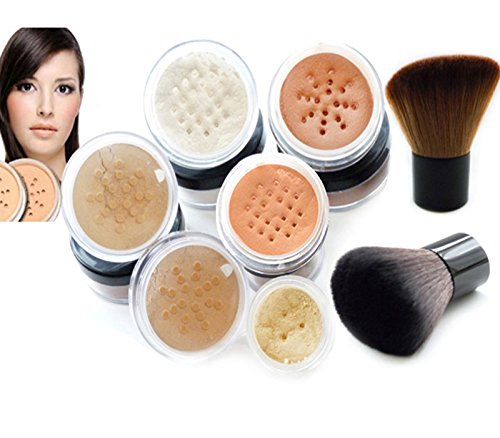 l Foundation Make-up Doppel Kabuki Set Sheer Finish Volle Deckung reinen, natürlichen Mineralien von Intelligente Cosmetics® (Sheer Cover Mineral Make-up Set)