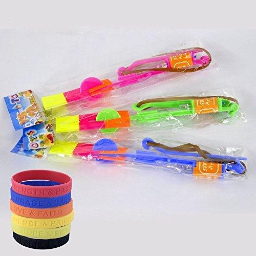 FOME Amazing luce LED freccia Rocket elicottero volante giocattolo partito regalo divertente elastico + FOME regalo 90 PCS