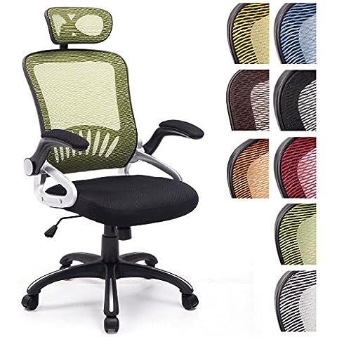 CLP Silla de oficina JUSTIN, tapizado de red, reposabrazos plegables, con torniquete giratorio sólido, altura regulable del asiento 47 - 57 cm verde