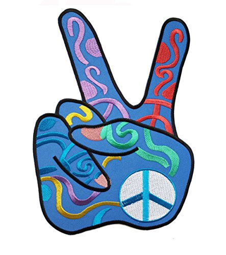 (Aufnäher/Bügelbild - Hippie Patch Blau Peace -