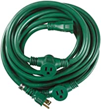 Yard Master 3030 25-Foot 3-Outlet Garden Extension Cord with Evenly-Spaced Plugs, Green by Woods