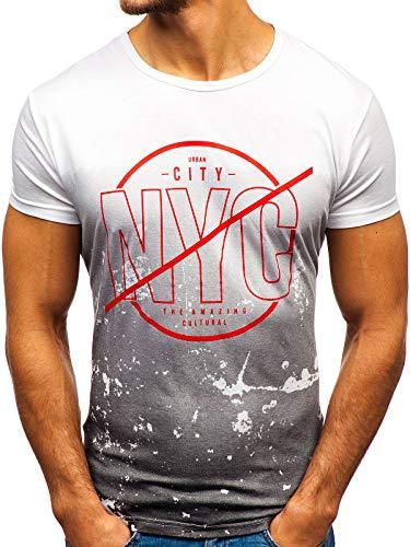 BOLF Herren T-Shirt mit Rundhalsausschnitt Print Aufdruck Täglicher Stil J.Style KY36 Weiß S [3C3] | 05902646979243