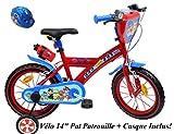 EDEN-BIKES Vélo Enfant Garçon Pat Patrouille - 14'' - Rouge et Bleu + Casque Inclus
