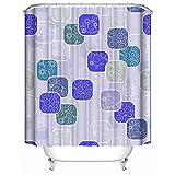 HUIYIYANG Duschvorhang, Blaue Blumen und Rechteck Muster auf purpurrotem Hintergrund wasserdichtem Anti Mehltau Gewebe Polyester Badezimmer Duschvorhang 66