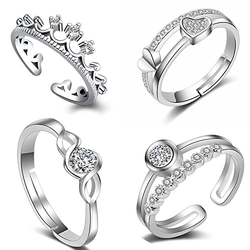 Om Jewells Cz Jewellery Combo of 4 All Occasion Finger Rings Made with Cz Stones for Girls and Women CO1000138
