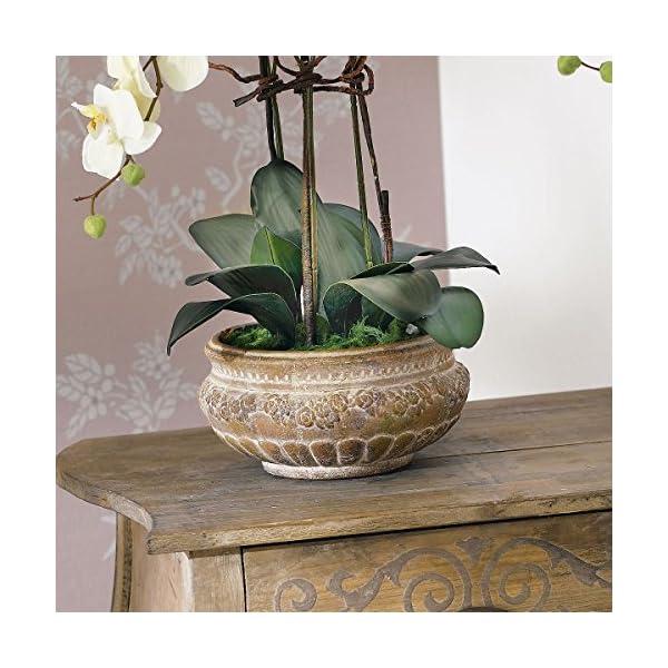 Pureday Planta Artificial orquídea orquídea Blanco-Crema con Maceta de cerámica marrón 58 cm de Altura