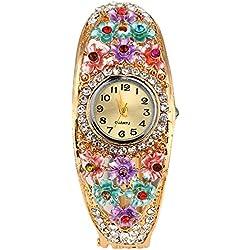 Sanwood® Women's Flower Golden Color Crystal Bracelet Wrist Watch
