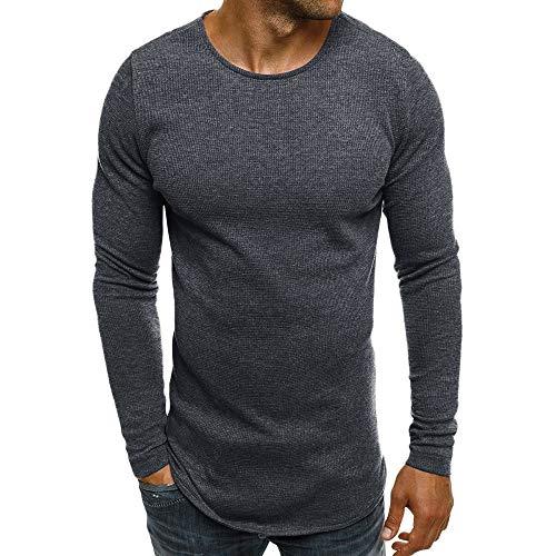 Xmiral Herren Pullover Sweatshirt Beiläufige Feste Lange Hülse dünn T-Shirt Bluse Bodenbildung Herbst und Winter(M,Dunkelgrau)