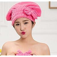 1x Fashion assorbente in microfibra asciugamano capelli asciutti, Doccia Cap Turbante per capelli asciugatura rapida cappello rosa