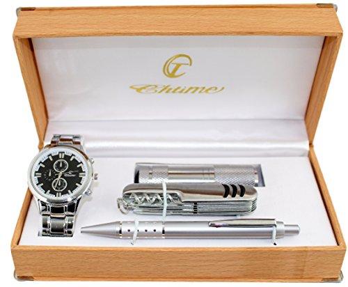 Cofre regalo para hombre con reloj + bolígrafo + navaja + linterna