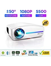 WZATCO S4 (Android) Native 1080P Full HD LED Projector, 5500 Lumens 4D Correction Home Cinema (S4 Android (White))