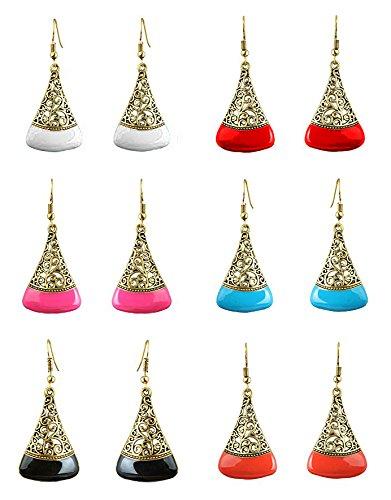 YouBella Jewellery Oxidised Stylish Fancy Party Wear Combo Of 6 Earrings for Girls and Women