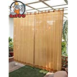 HIPPO Outdoor Loop Curtains - (80-85%) Sun Blockage - Medium Duty - Beige Colour - Full Size (2 Nos. x 4.0 Ft W x 7.5 Ft L