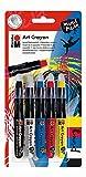 Marabu 140000000204 - Art Crayon Wachs-/Aquarellkreidestift, Primary - Grundfarben, weich vermalbar, cremig-weich, für Papier, Malkarton, Mixed Media Techniken, aquarellierbar, 5er Sortierung