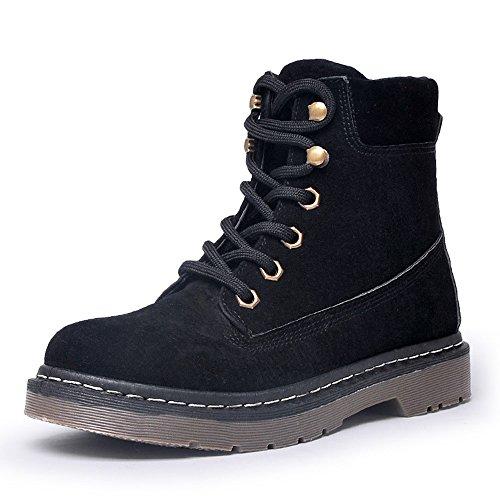 CUSTOME Femme Hiver Suede Flat Boots Chaudes Fourrure Chaussures Cheville Courte Bottes Martin