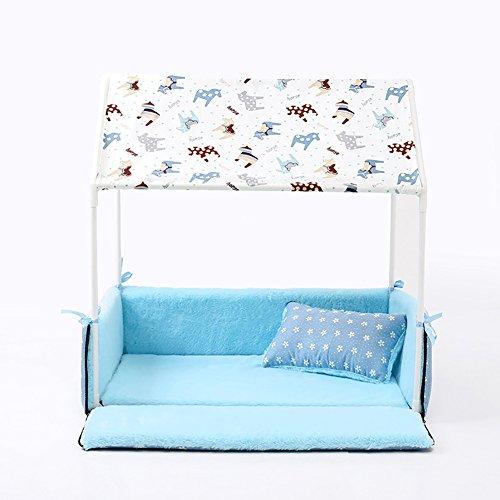 QIAIQQ Kreativität mit Spitze Haustier Zelt Nachtlicht Entfernbar Reinigbar Haustierbett Klein und Mittelgroß Hund Haus Gemütlich Atmungsaktiv Zwinger Dauerhaft Erwärmen Katzen-Nest,Blue (Microsuede-sofa-bett)