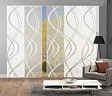 Home Fashion 95662   5er-Set Schiebegardinen TIBERIO   Scherli Blickdicht & transparent   wollweiß   je 245x60 cm