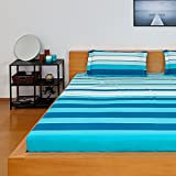 #4: Solimo Spectra Stripe 180 TC 100% Cotton Double Bedsheet with 2 Complimentary Pillow Covers - Blue