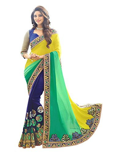 Panchratna Women's Faux Georgette Saree ( Yellow and Green 3d)