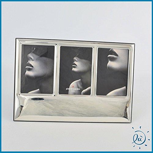 Argenti preziosi italia - idee regalo e bomboniere portafoto argento laminato regali matrimonio e anniversari cornice per foto pierre cardin linea miroir triplo mis. cm 7x10