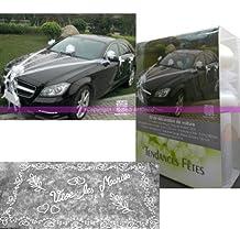 Conjunto de decoración para boda, 9 piezas, para coche de novios, tul,