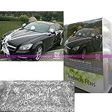 Deko-Set Hochzeit Luxe weiß 9-teilig, PR Auto Brautpaar, Tüll, Knoten, Schleifenband, und Hutablage verziert