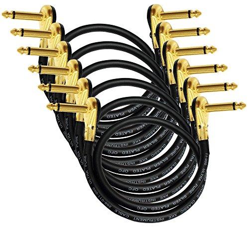6las unidades–Van Damme Pro grado Classic XKE–30Inch (76cm)–PREMIUM, ultra-flexible Multi–blindado guitarra baja instrumento de efectos, Cable de conexión–con chapado en oro de, de bajo perfil, en ángulo recto panqueque tipo conectores TS (6,35mm)