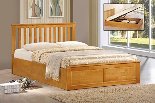 wooden ottoman storage bed double 4ft6 - 5ft king white oak storage bed gas lift (4ft6 double, oak)