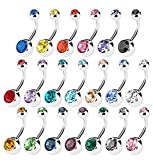Bauchnabelpiercing Bauchpiercings Nabelpiercing Bauchnabel Piercing Ohrringe stecker , DIKETE® 20 stück Bananabell Körperschmuck KörperPiercing mit Kristallsteine in 10 Farben