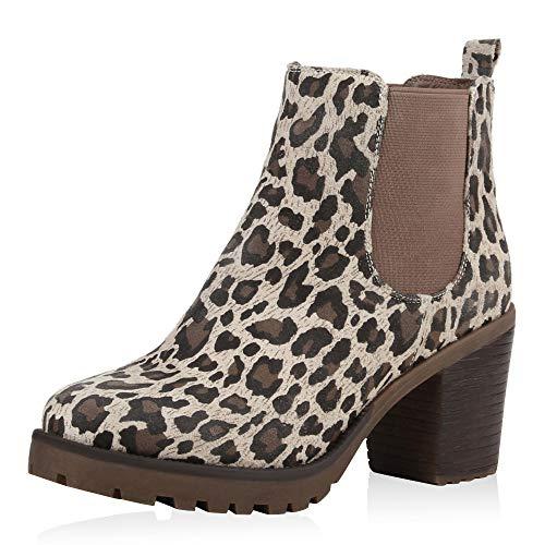 SCARPE VITA Damen Stiefeletten Chelsea Boots Profilsohle 70?s Schuhe 125355 Leopard Leopard - 70's Fashion Kostüm