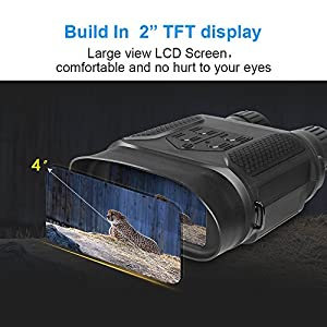 "Night Vision Binoculars, Digital Infrared Hunting Binocular Scope with 2"" TFT LCD 640P HD and 7X Magnification IR Camera with Video Recorder Function Day and Night in 400m/1300ft for Wildlife Military"