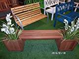 2in 1Garden Bench with 2Plant Pots Hardwood 174cm Seat Removable