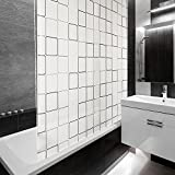 Design Duschrollo Retro Muster | viele Größen | schnelltrocknend | Deckenbefestigung mit Halbkassette | halbtransparent, Retro Muster | 80x240cm (BxL)