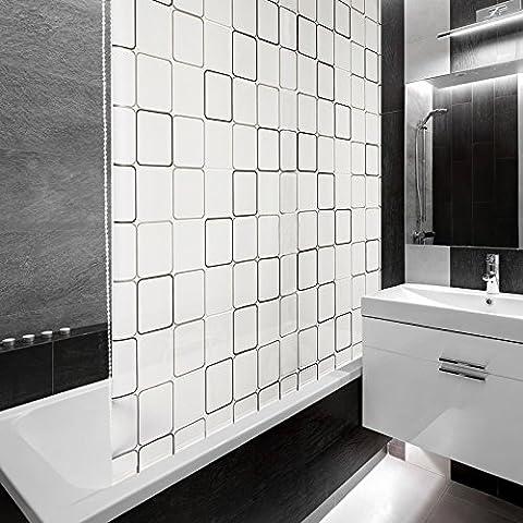Design Duschrollo Retro Muster | viele Größen | schnelltrocknend | Deckenbefestigung mit Halbkassette | halbtransparent, Retro Muster | 100x240cm (BxL)