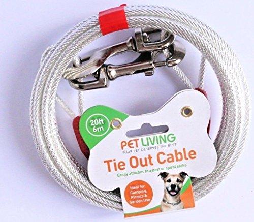 PET LIVING 20ft Hund Krawatte Out Kabel Garten Erdspieß Hunde Spike Camping 20Füße -