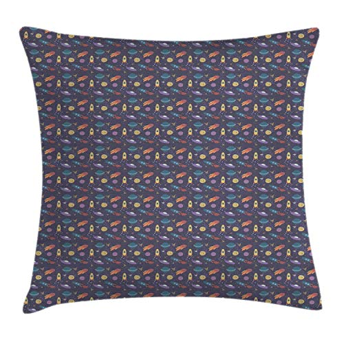 llow Cushion Cover, Space Themed Comet Stars Rockets and Planets in Pastel Tones, Decorative Square Accent Pillow Case, Dark Purple Grey and Multicolor,20 X 20 Inches ()