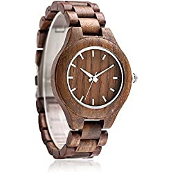 Nature Walnut Wood Men's Watch Omelong® With Japan Quartz Movement + Woody Watch Face + Analog Display