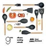 Utensilios de Cocina Silicona COCOCITY Set de Utensilios de Cocina 9 Unidades Gadgets de cocina Juego de Cocina Resistente al Calor, cepillo, espátulas, cuchara ranurada, cucharas de cocina, paleta de arroz, espátula ranurada, cuchara de sopa (Gris)