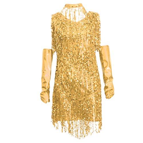 Flapper Fringe Gold Pailletten Kostüm & - sharprepublic 1920 Kleid Flappers Gatsby Abendkleid Cocktail Party Kostüm Minikleid mit Handschuhe und Halsschmuck für Halloween Mottoparty - Gold, XL