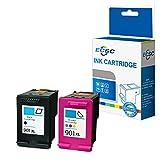 ECSC Remanufacturé Encre Cartouche Remplacement Pour HP Officejet J4680c J4680 J4660 J4624 J4580 J4585 J4540 J4550 J4524 J4535 4500 4500 AiO G510g 4500 Desktop AiO G510a 901XL (B/CLR, 2-Pack)