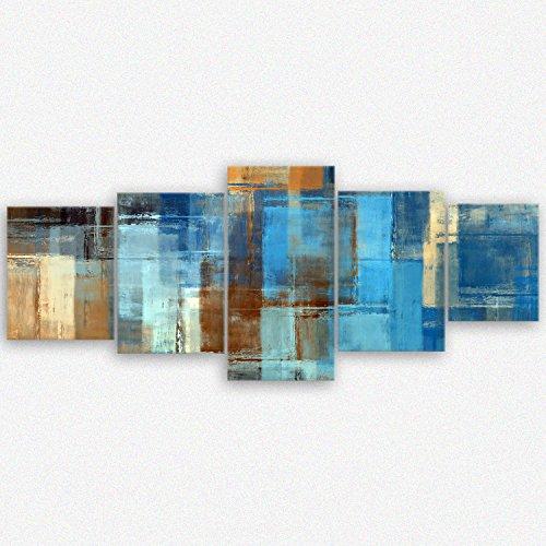 ge-Bildet Leinwandbild 'Abstract Colored I' abstrakt Blau Braun - 200x80 cm 5 teilig -...