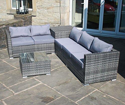 grey rattan outdoor garden furniture corner sofa with storage box garden rattan furniture