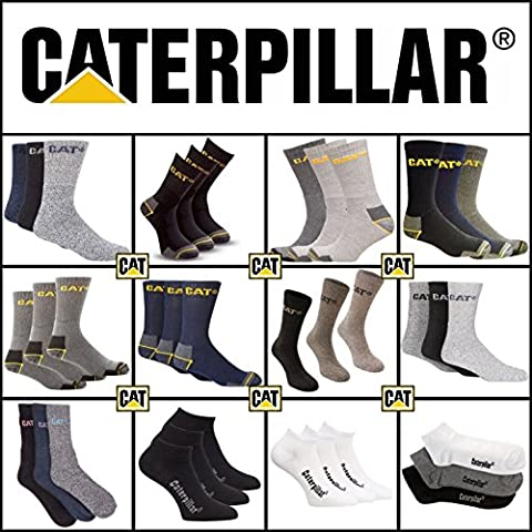 Caterpillar (CAT) Deluxe Mens Heavy Duty Work / Boot Socks Assorted 9 Pack All Sizes - Great Value (Colours May Vary)