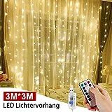 Cortina de Luces, 3 * 3M 300LEDs Luces de Cortina, LED Cadena de luces con 8 Modos de Luces Blanco...