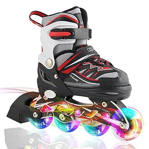 2pm Sports Ciro enfants rollers en ligne de la série Kuxuan, doté de roues LED illuminées, 4 raille réglable, light up inline skates pour les filles et les garçons - Rouge M (35-38)